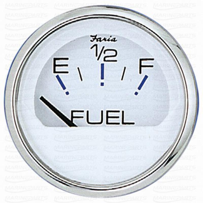 Kütusetaseme näidik 51 mm (valge roostevabast terasest