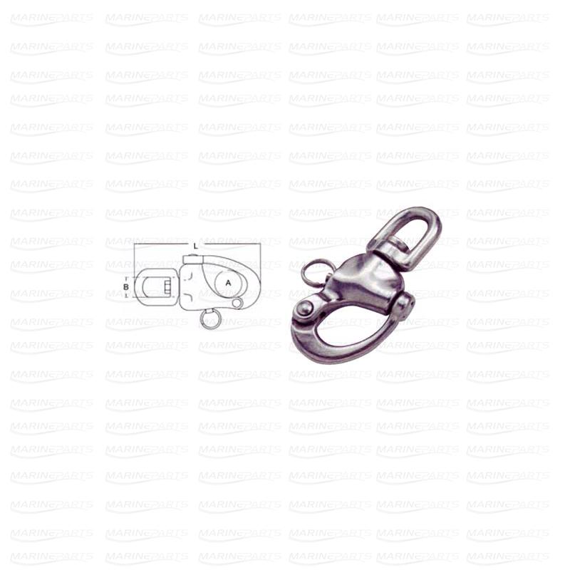 Riivluku ja pööreliga karabiin AISI316 124-22-23 mm