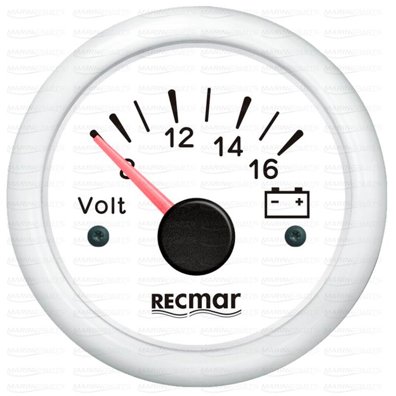 Valge voltmeeter 8-16 V