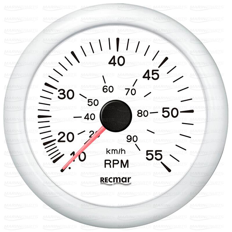 Valge spidomeeter 0-55 mph