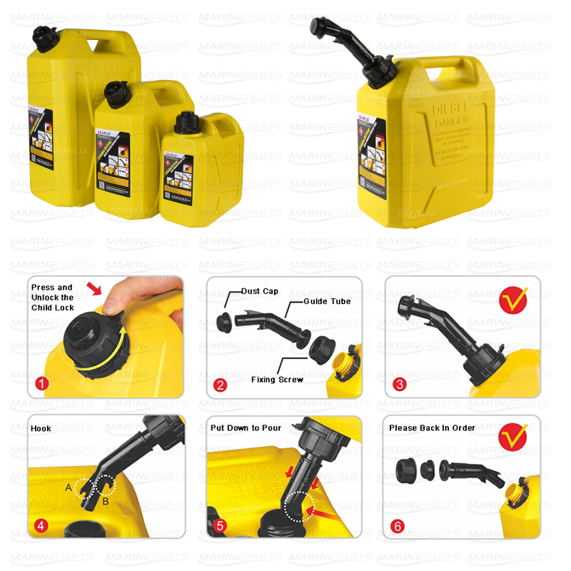 Automatisk lukning Diesel dåse 10L 290 x 160 x 346