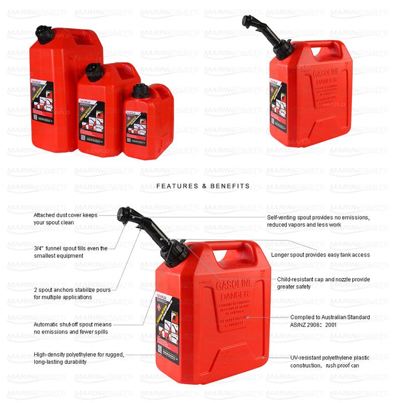 Automaatse kütusevoolu katkemisega kütusekanister 5 L 260 x 130 x 275