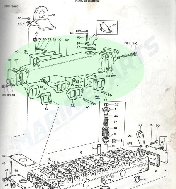 Udstødningsmanifold Perkins T6.354M 160 hk