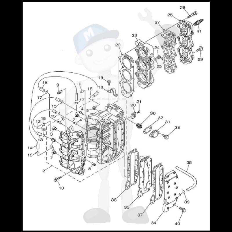 Moottorin sisäosia Yamaha 40V - 50H