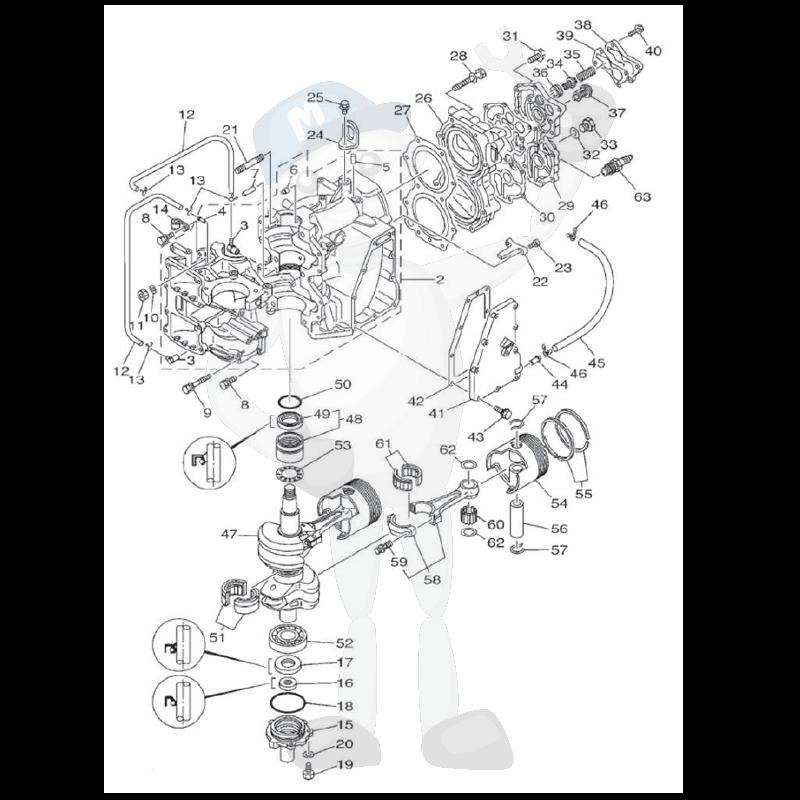 Moottorin sisäosia Yamaha E48C - E55C - 55ED - 55ET