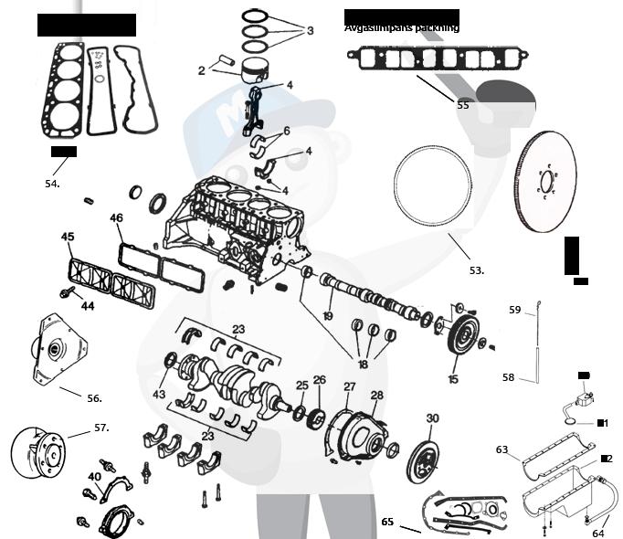 Varaosia moottorinlohko GM181 2.5/3.0 ltr.