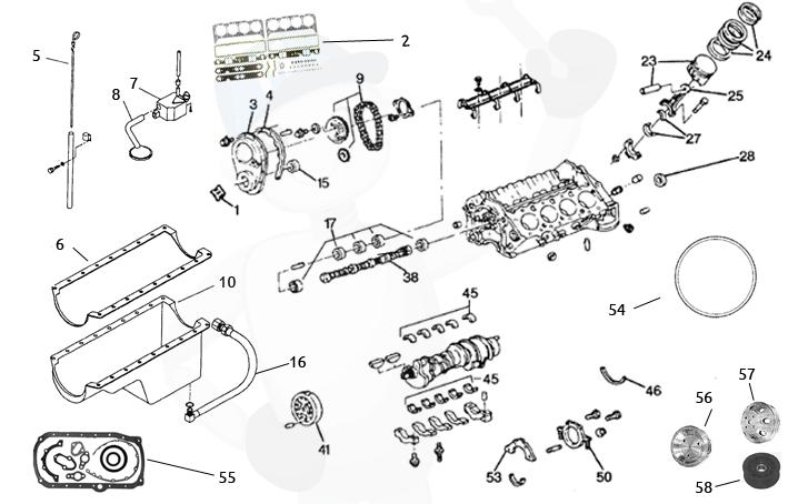 Reservdelar motorblock GM V8 5.0 & 5.7 ltr.