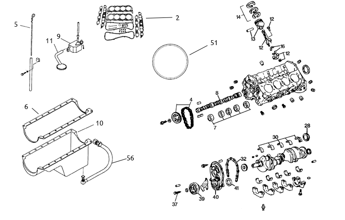 Reservdelar motorblock GM V8 454 / 502