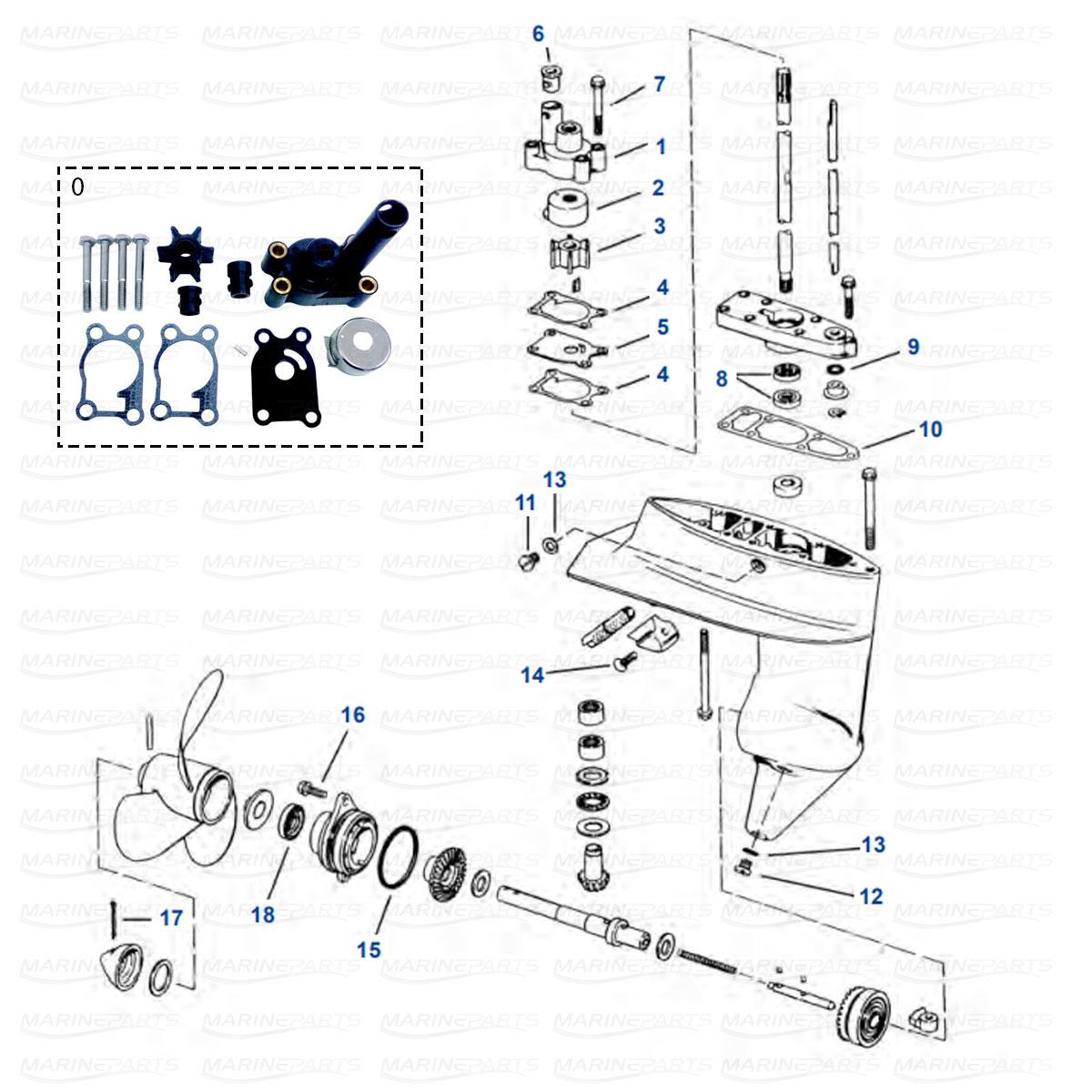 Gearcase parts 4-8 HP (1980+)