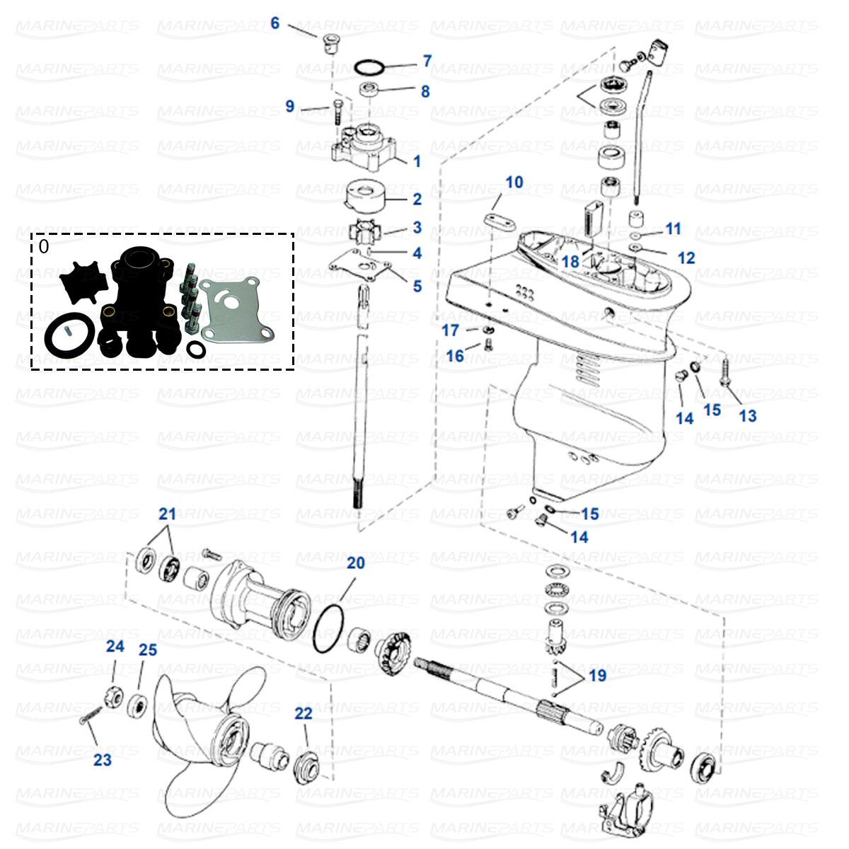 Gearcase parts 9.9-15 HP (1974+)