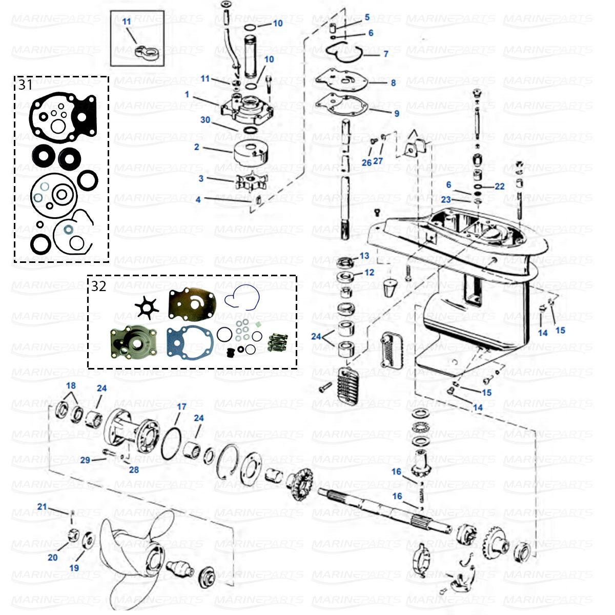 Gearcase parts 20-35 HP 1980-2001