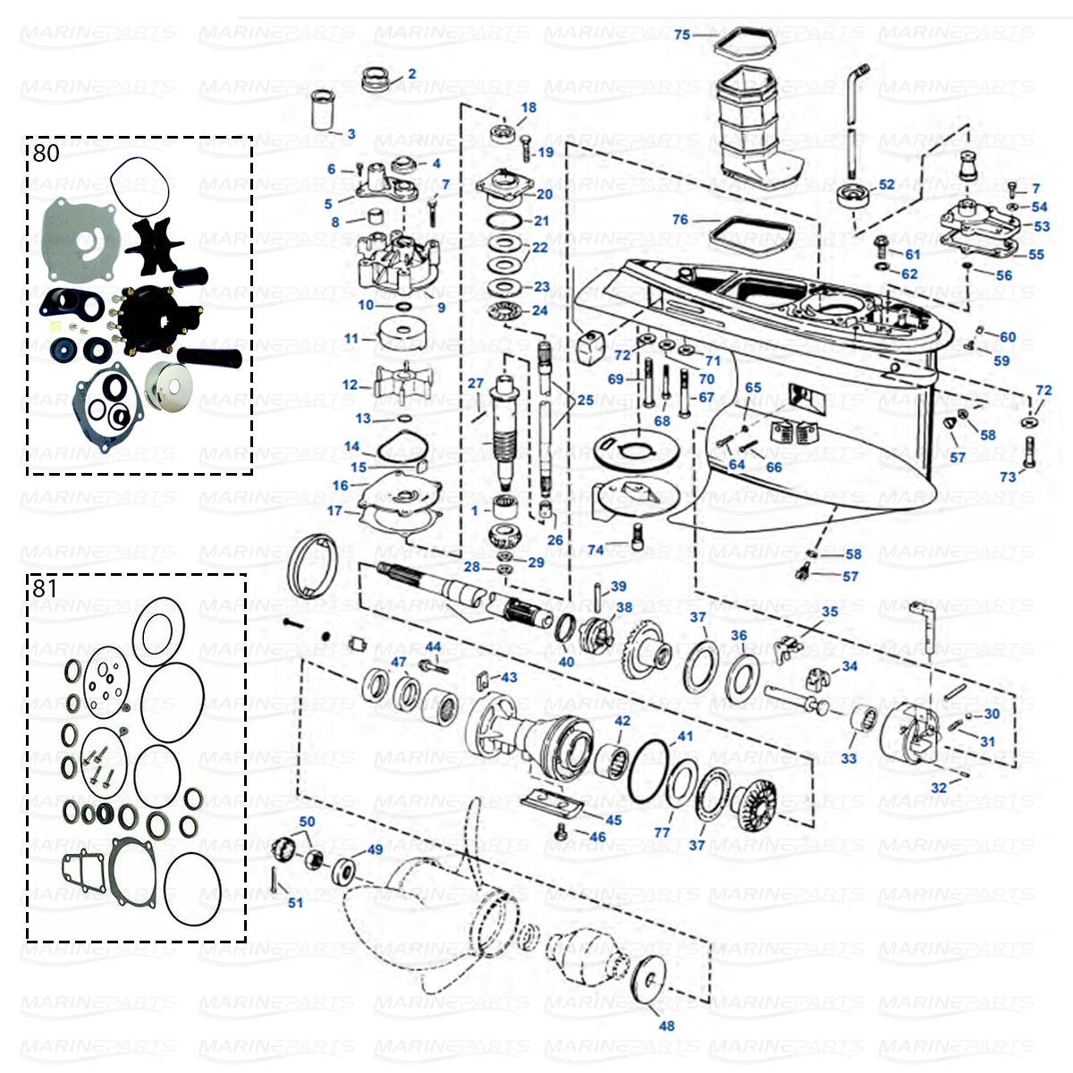 Växelhusdelar Evinrude/Johnson V4/V6 typ