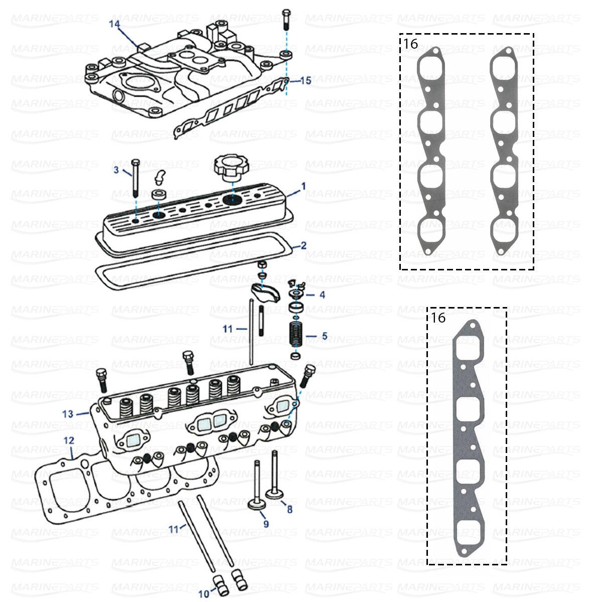Cylinder head parts GM V8 454 / 502