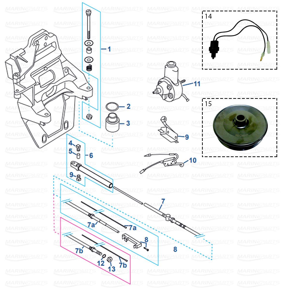 Transom Plate, Shift Cable, Power Steering Pump MerCruiser Alpha/Bravo