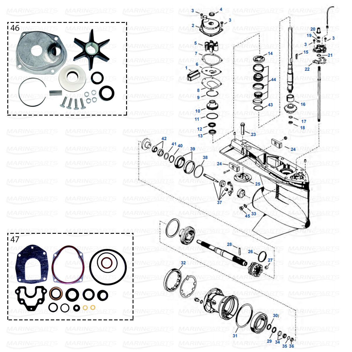 Gearcase parts Mercury/Mariner 4T Verado Inline 6-cyl.