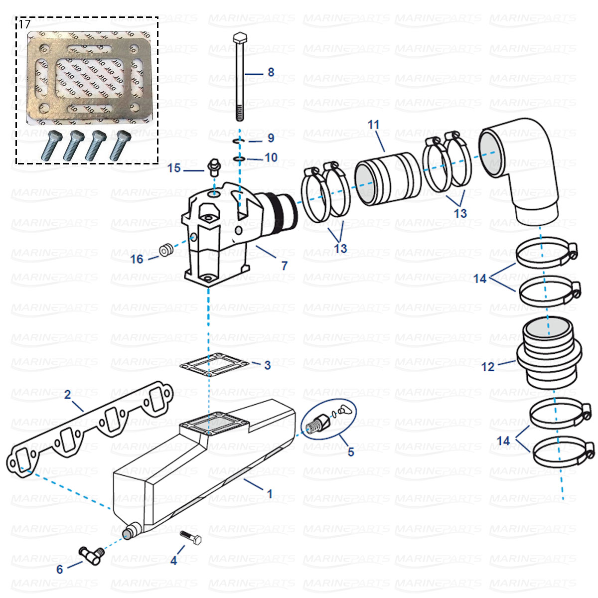 Exhaust parts for OMC V8 [GM V8 454 bigblock] years 1992+