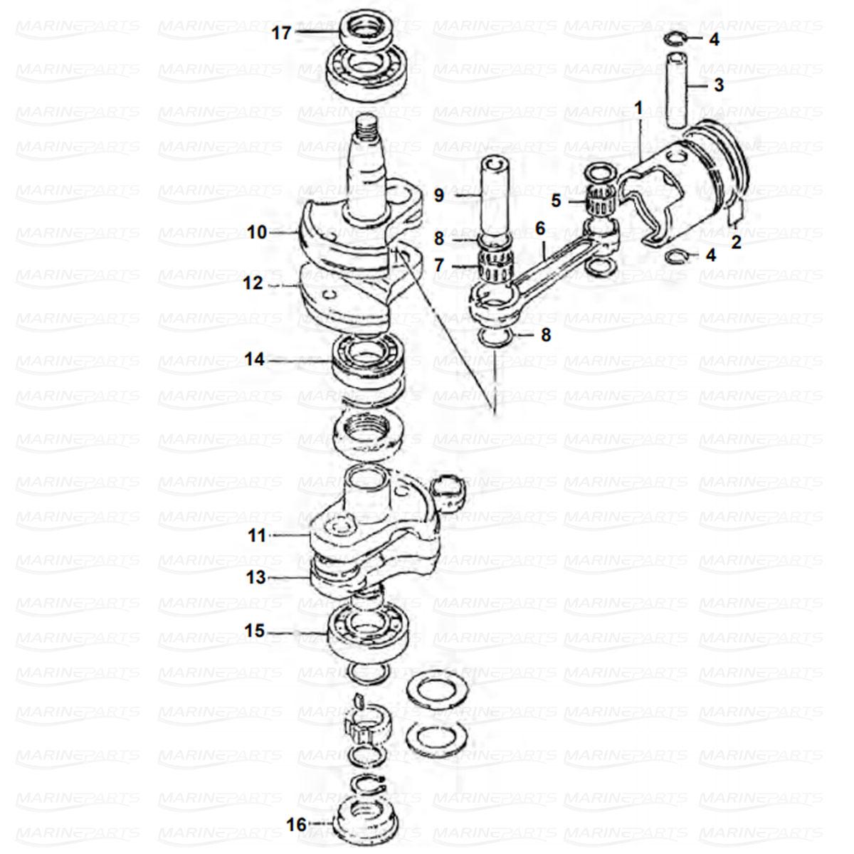 Crankshaft, Piston Suzuki D40C-W-G-X (1986-1999), DTW-K1-KA (2001-2004)