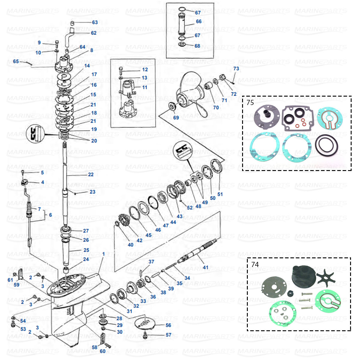 Gearcase parts Yamaha 20C, 25D, C25, 30A, C30 2-stroke