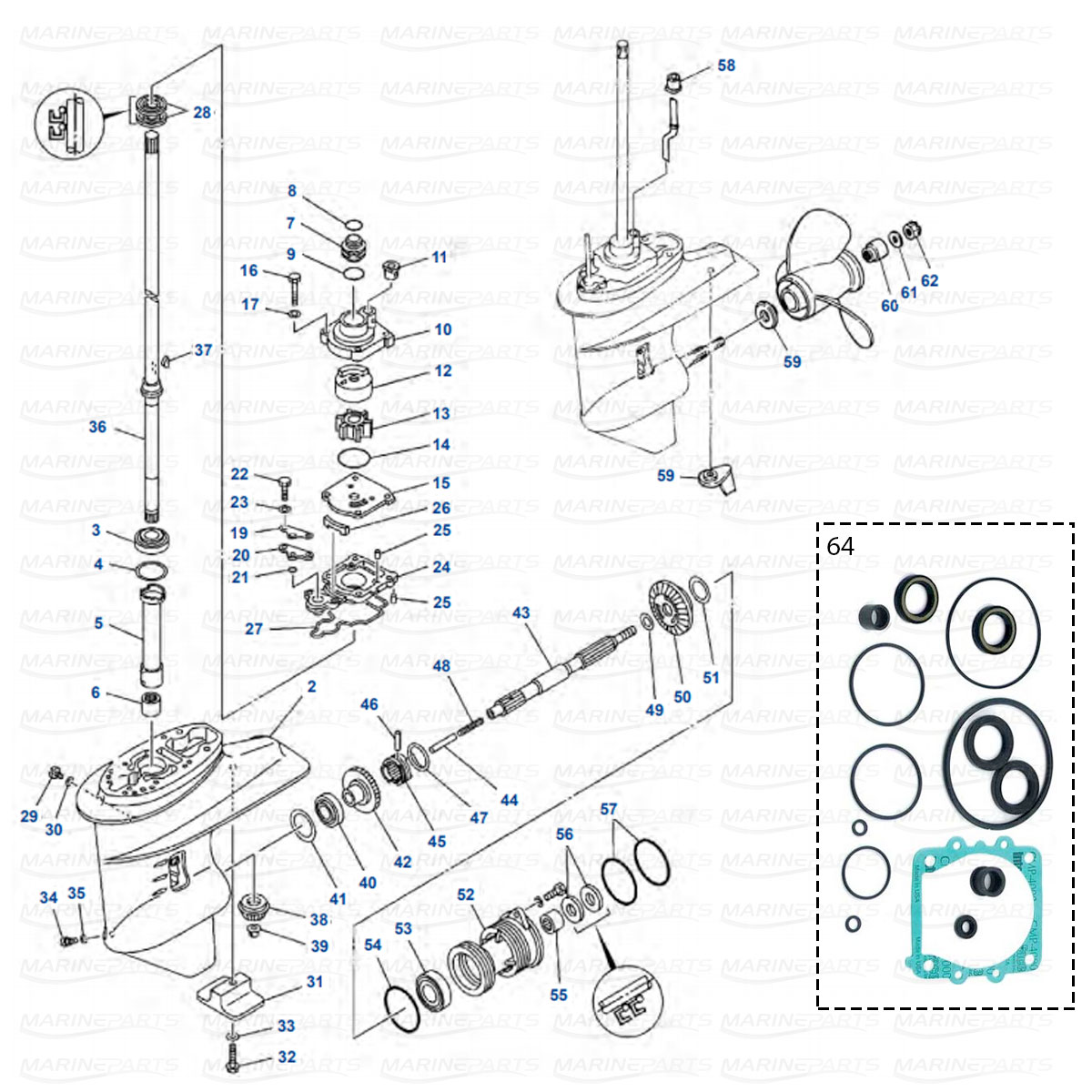 Gearcase parts Yamaha 25B - 30H