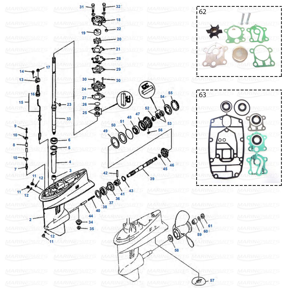Gearcase parts Yamaha 30DE - 30DMH