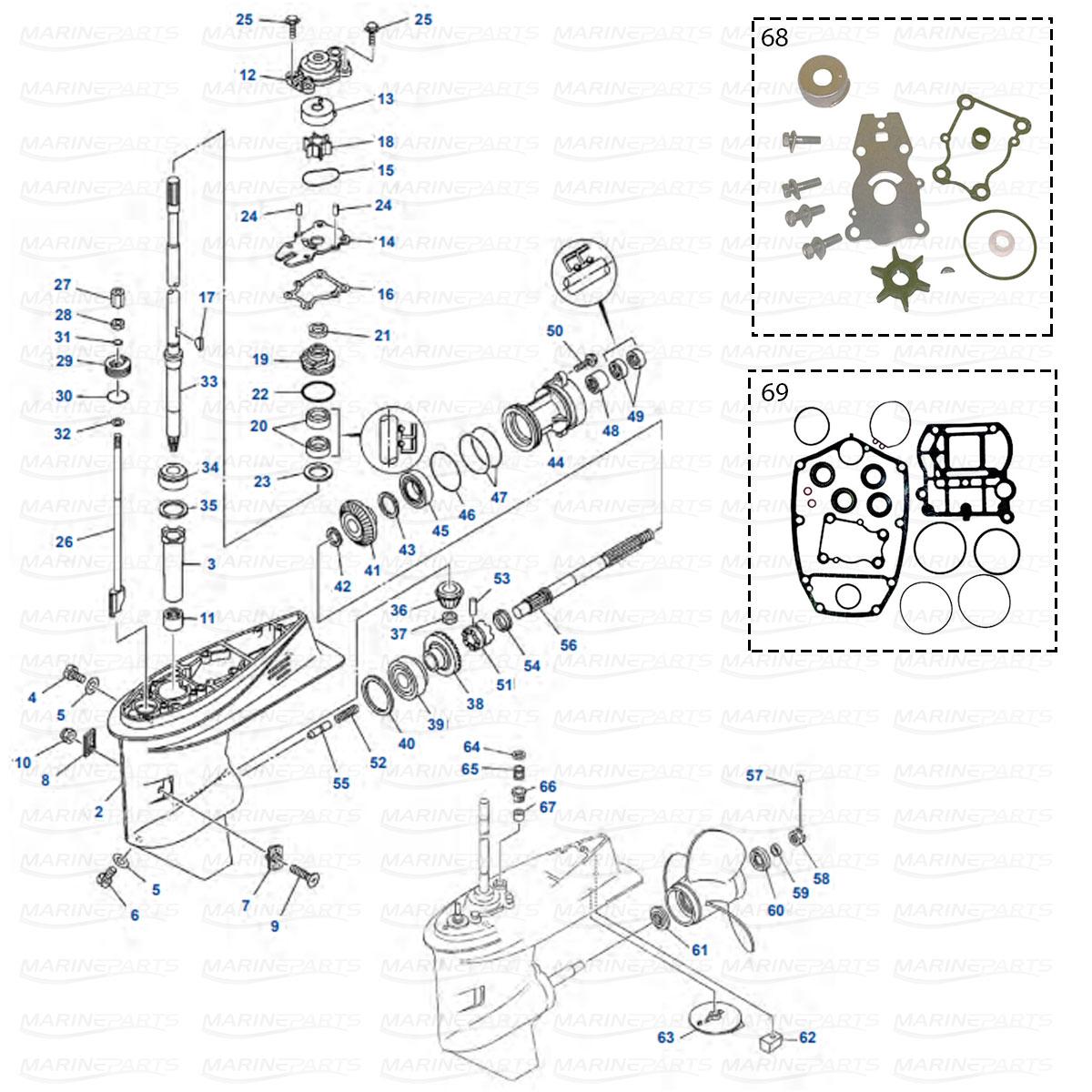 Gearcase parts Yamaha 40XMH - 40XE