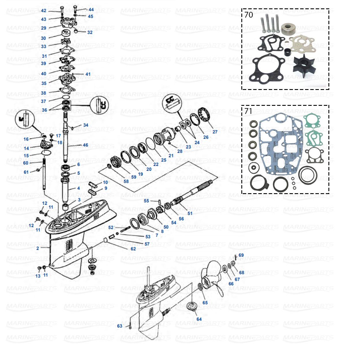 Gearcase parts Yamaha 55ED - 55ET