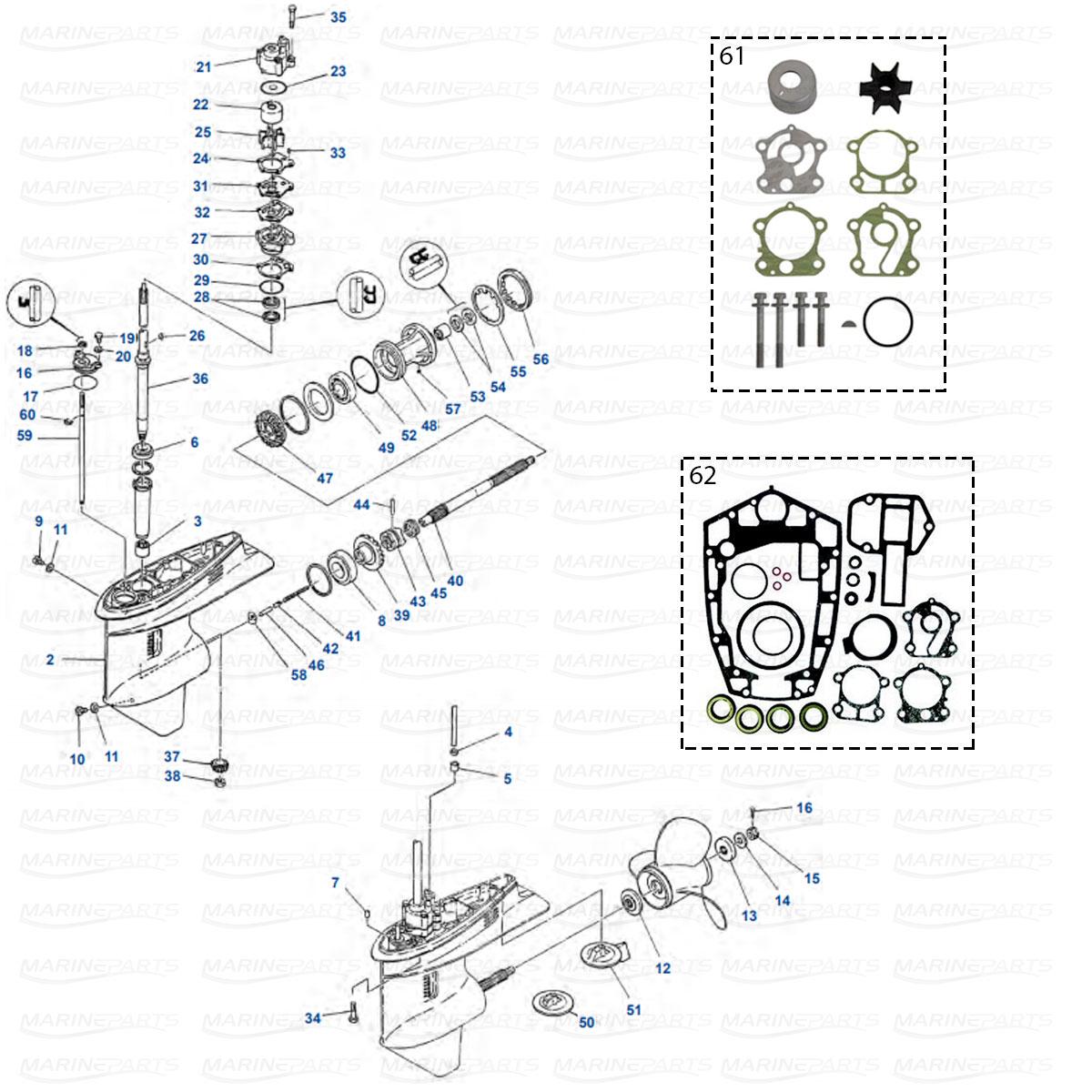 Gearcase parts Yamaha 75A - 85A