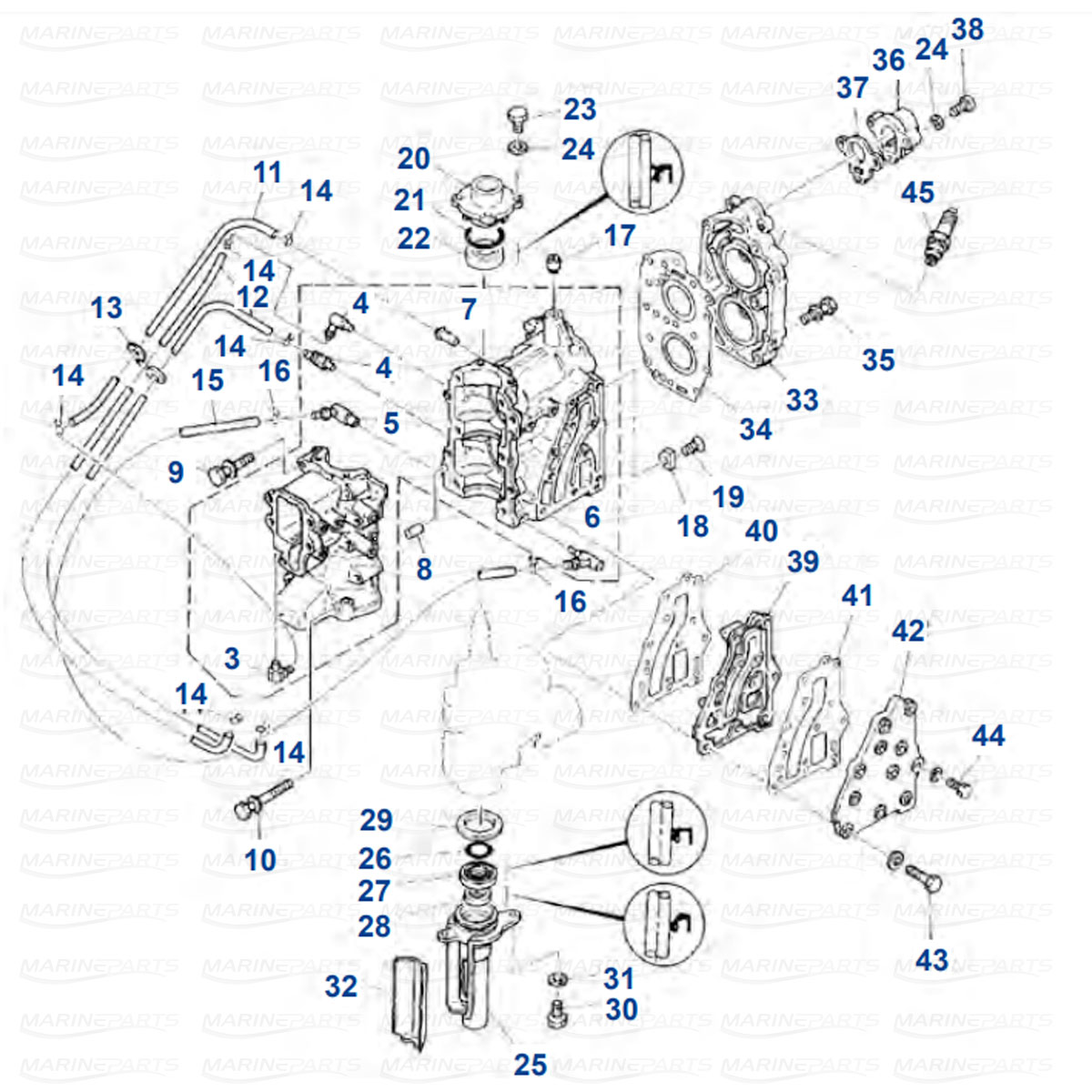 Moottorin sisäosia Yamaha E8D