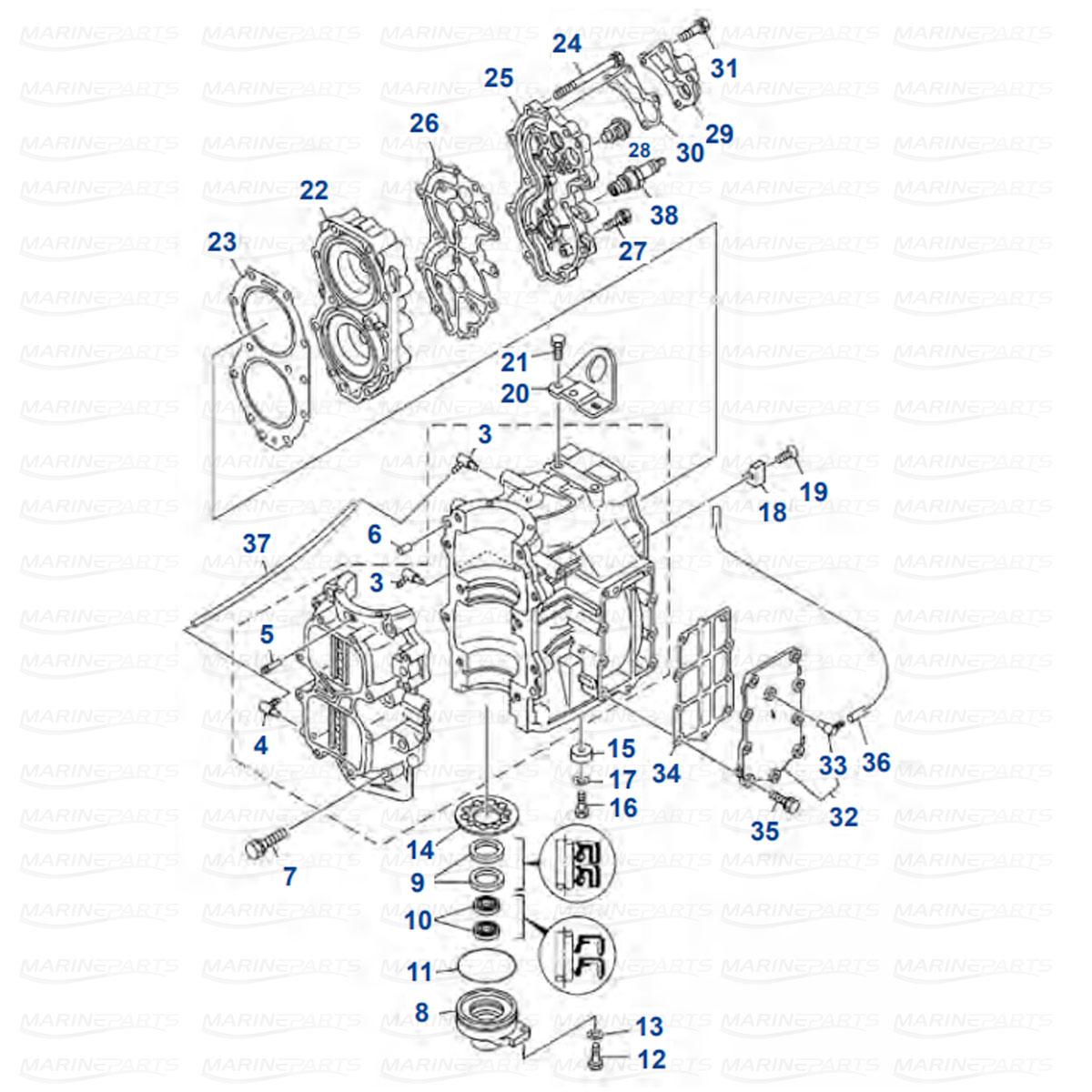 Moottorin sisäosia Yamaha E40X - 40X