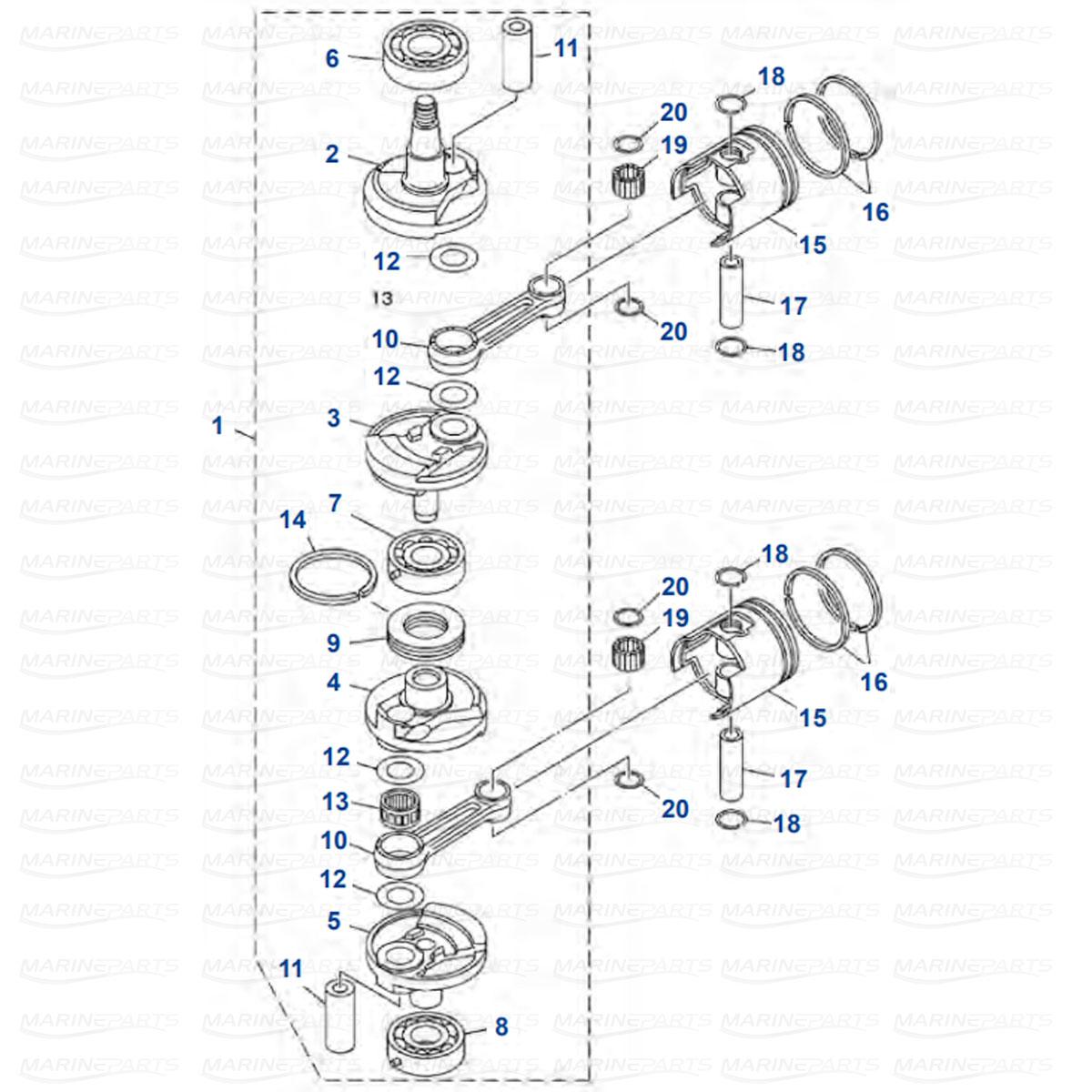 Moottorin sisäosia Yamaha E40X - 40X kuva 2