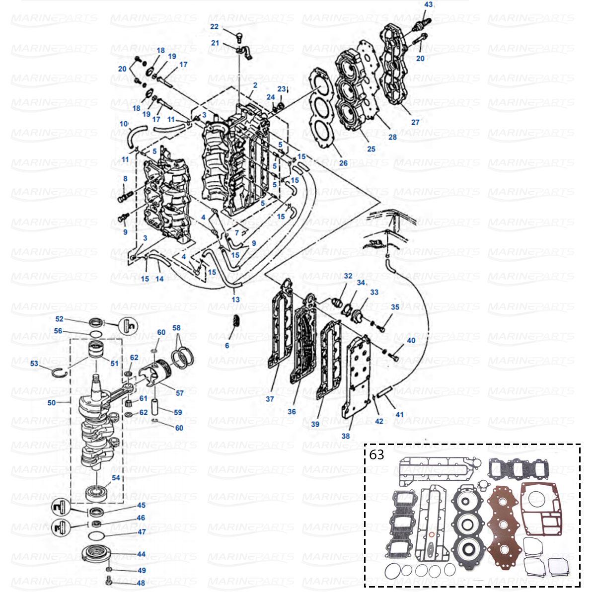 Moottorin sisäosia Yamaha 50G, 60F, 60T, 70B, 70T
