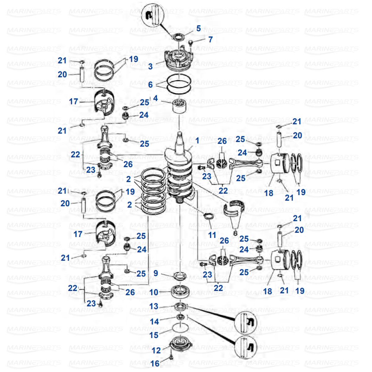 Moottorin sisäosia Yamaha 115C - 130B kuva 2