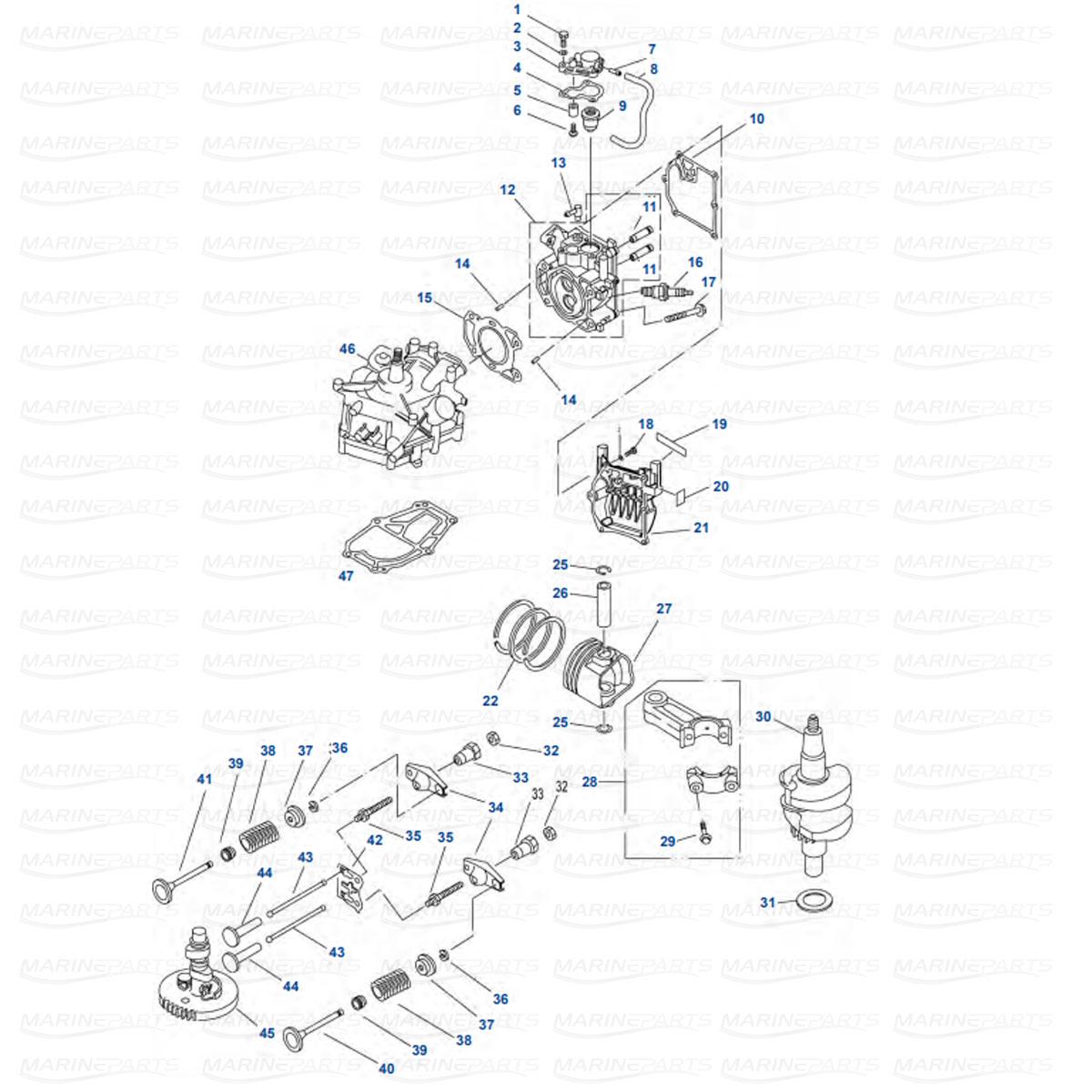 Silindripea ja väntvõll, kolb Yamaha F2.5AMH/MLH/MSH/MHA (2003+)
