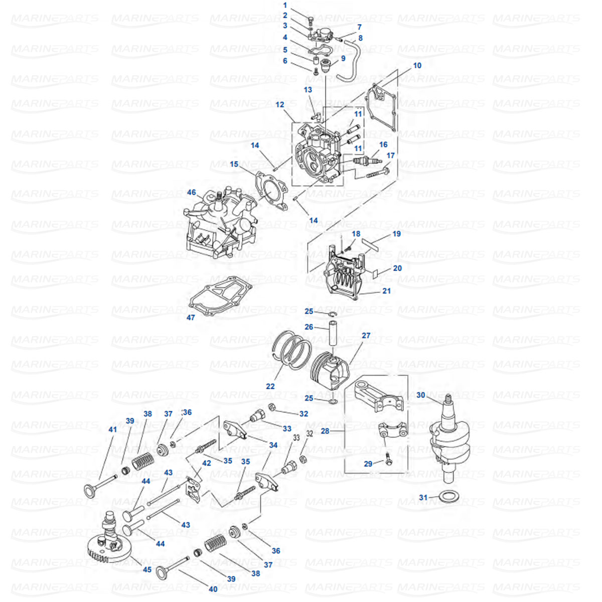 Moottorilohkon varaosat Yamaha F2.5AMH/MLH/MSH/MHA (2003+)