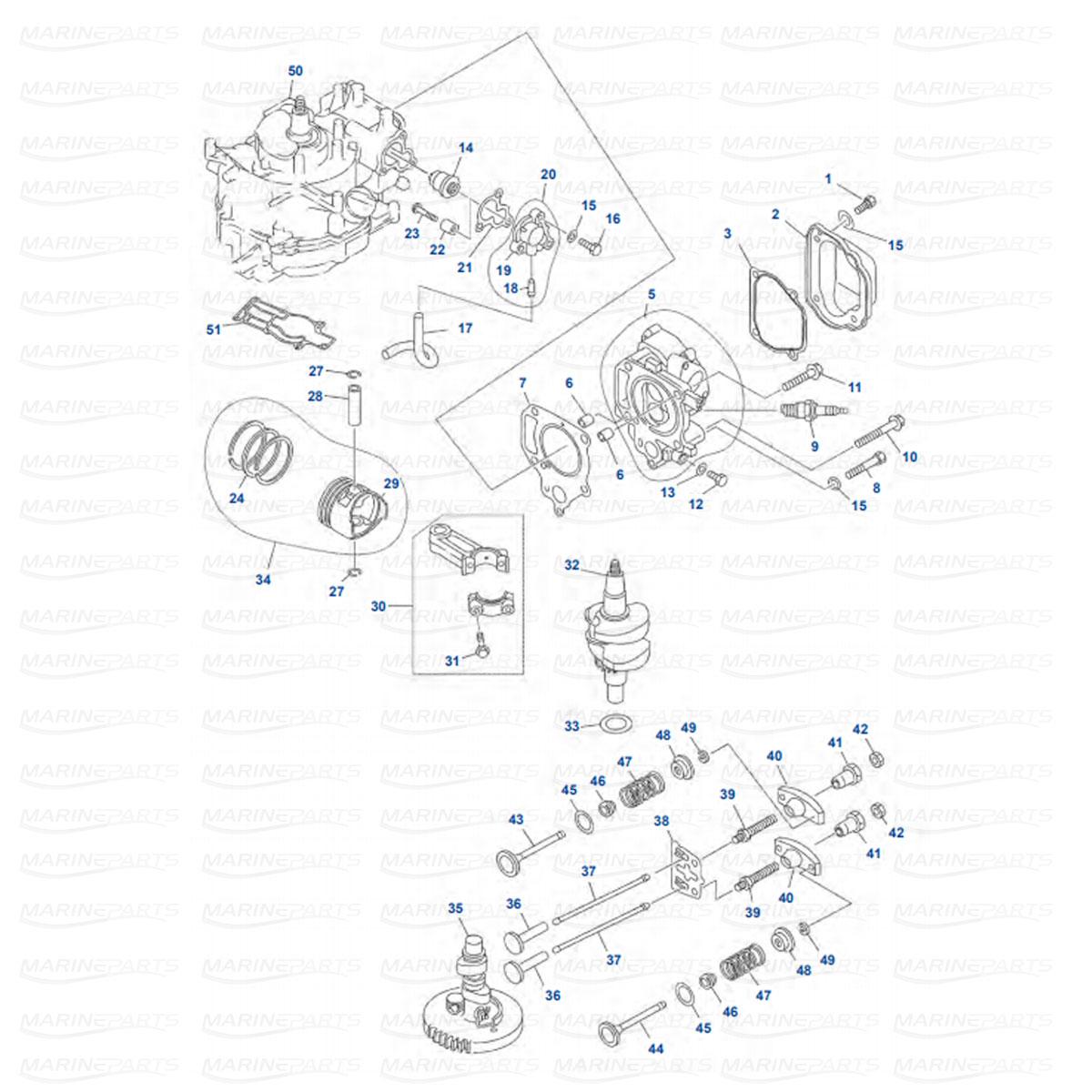 Silindripea ja väntvõll, kolb Yamaha F4A/MSHA-C/AMH/MLHB-S/MH/MLHE (2002-09)
