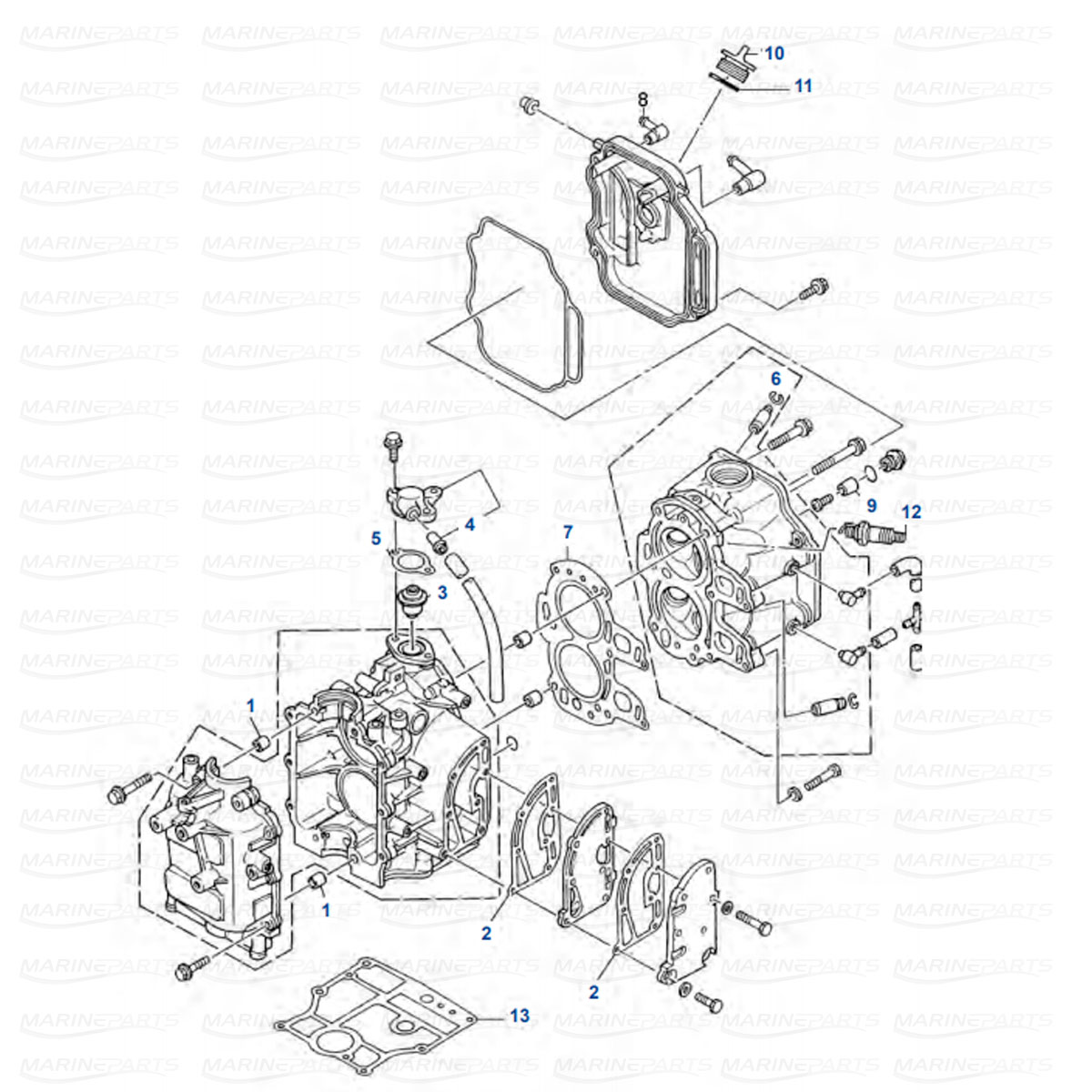 Cylinder Head Yamaha F8AM/BM/B/BE, F9.9 AE/AM/B/BE/BMH/ELH (1985-1999)