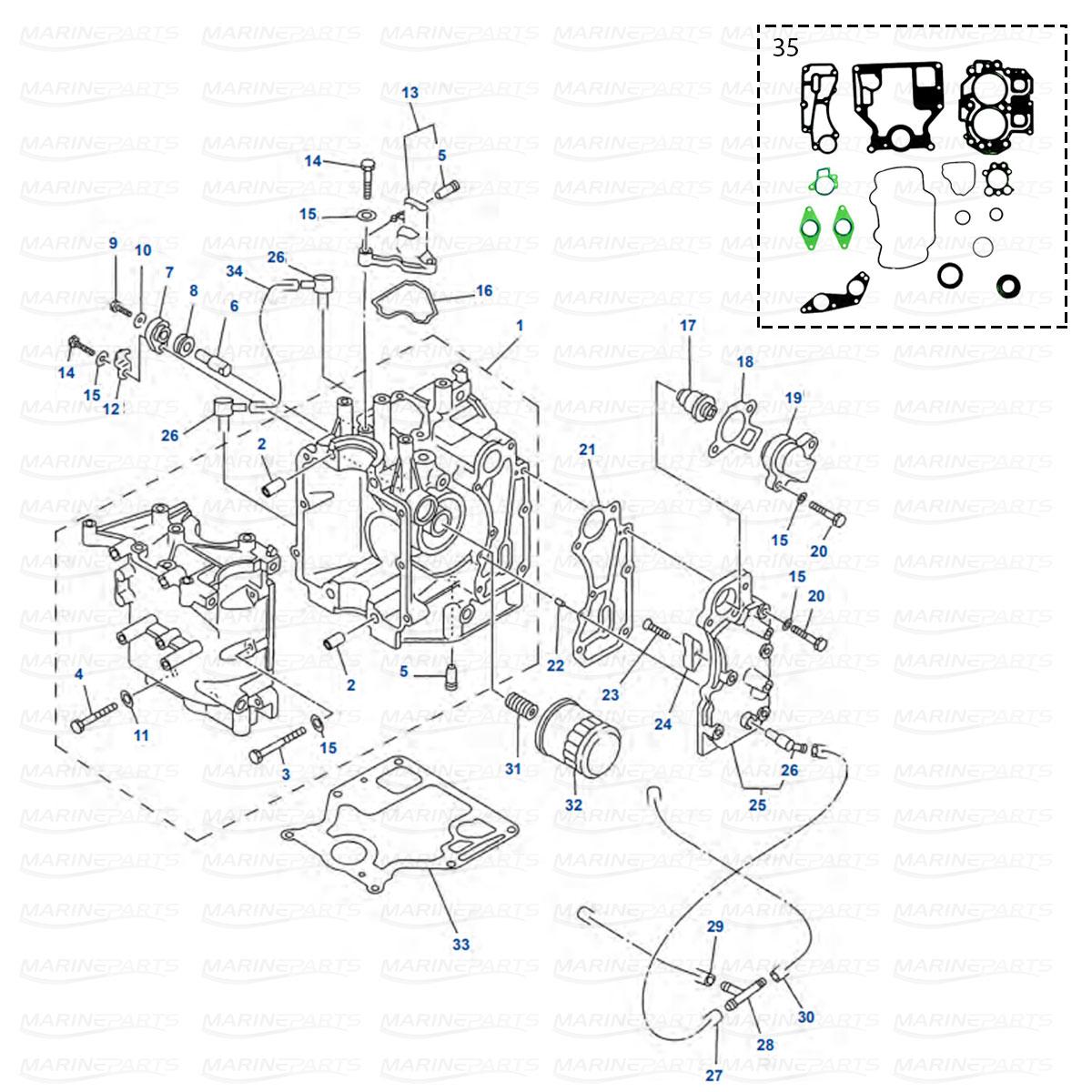 Moottorilohkon varaosia Yamaha F9.9 (2004-06), F13.5 (2003-06), F15 (2003-07)