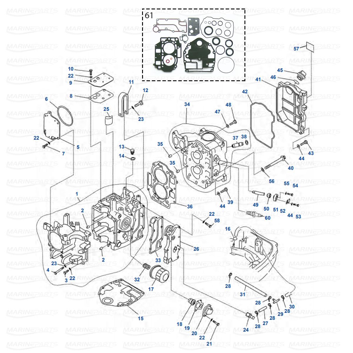 Moottorilohkon varaosia Yamaha FT, F20, F25 (1998-08)