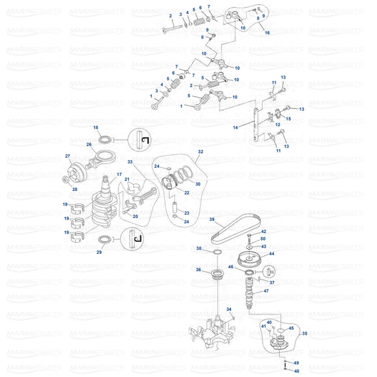 Mäntä, kampiakseli ja venttiilit Yamaha FT, F20, F25 (1998-08)