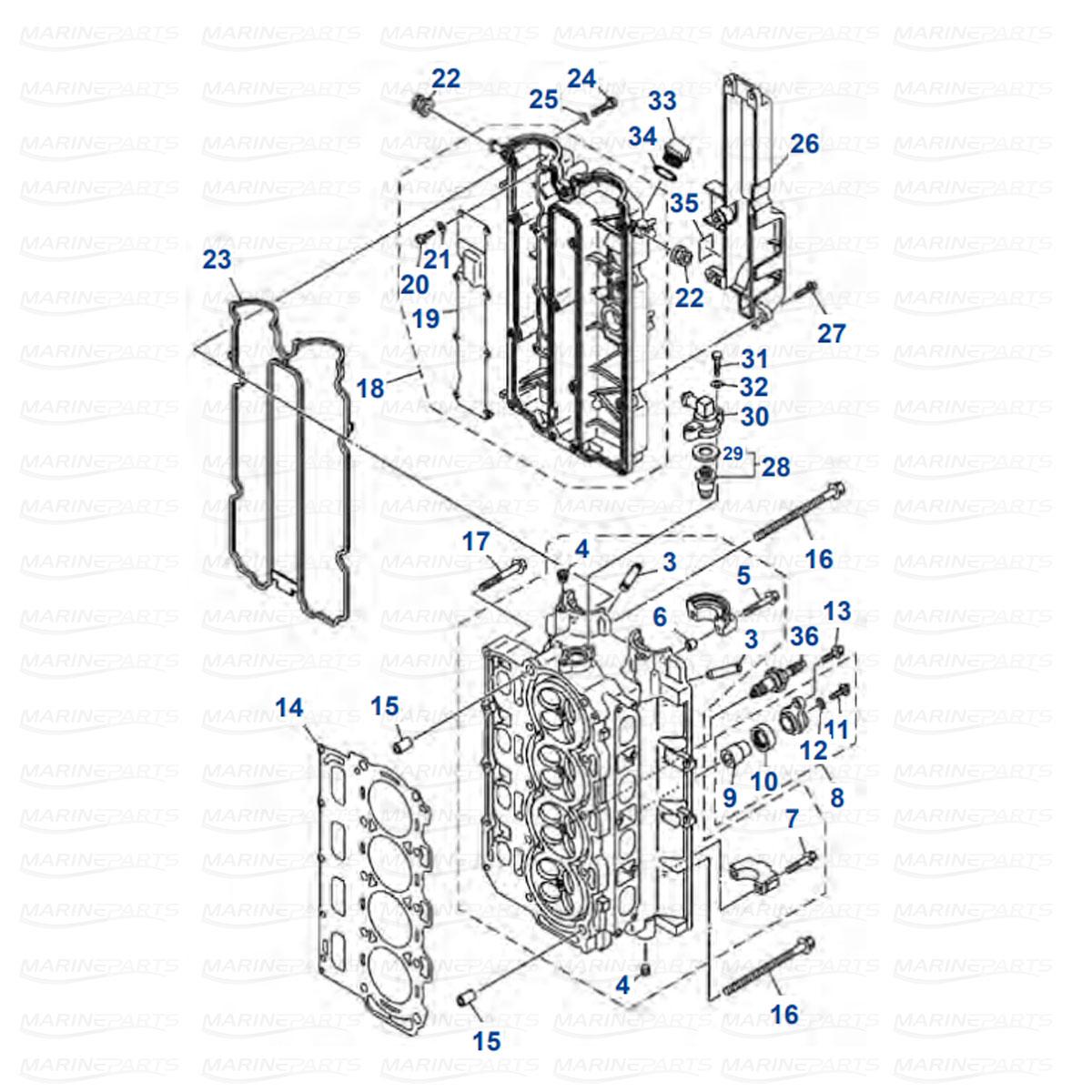 Sylinterikannen osia Yamaha F100 DET/BET - F80 CED/BET (2007+) - F115 AET/TJR/A