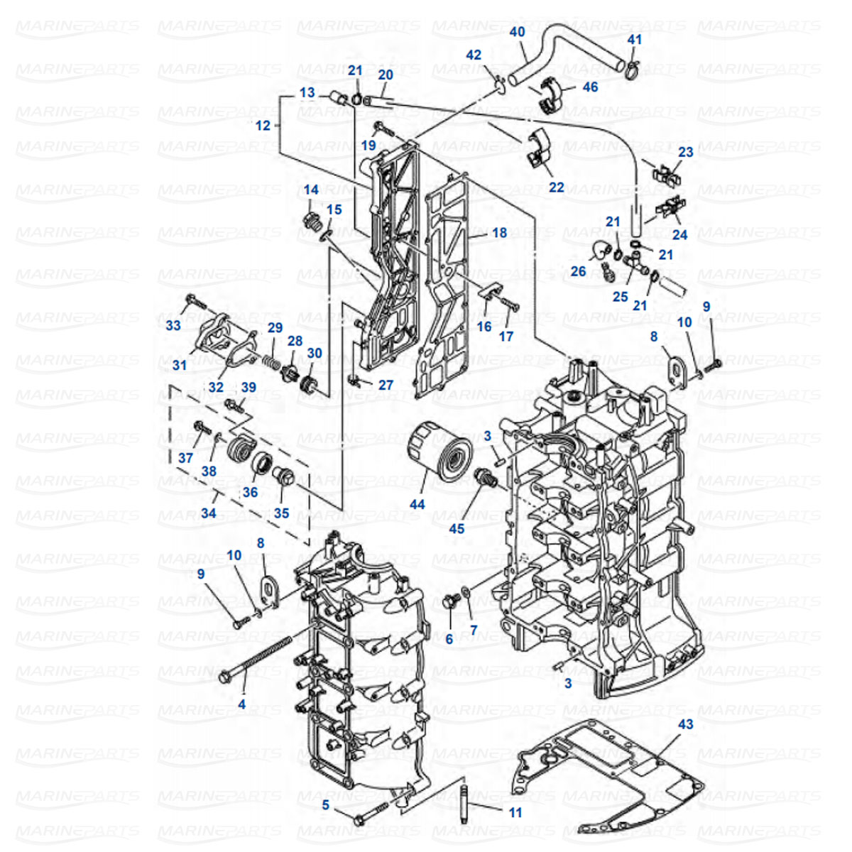 Yamaha engine parts for outboard motor, marineparts.eu on