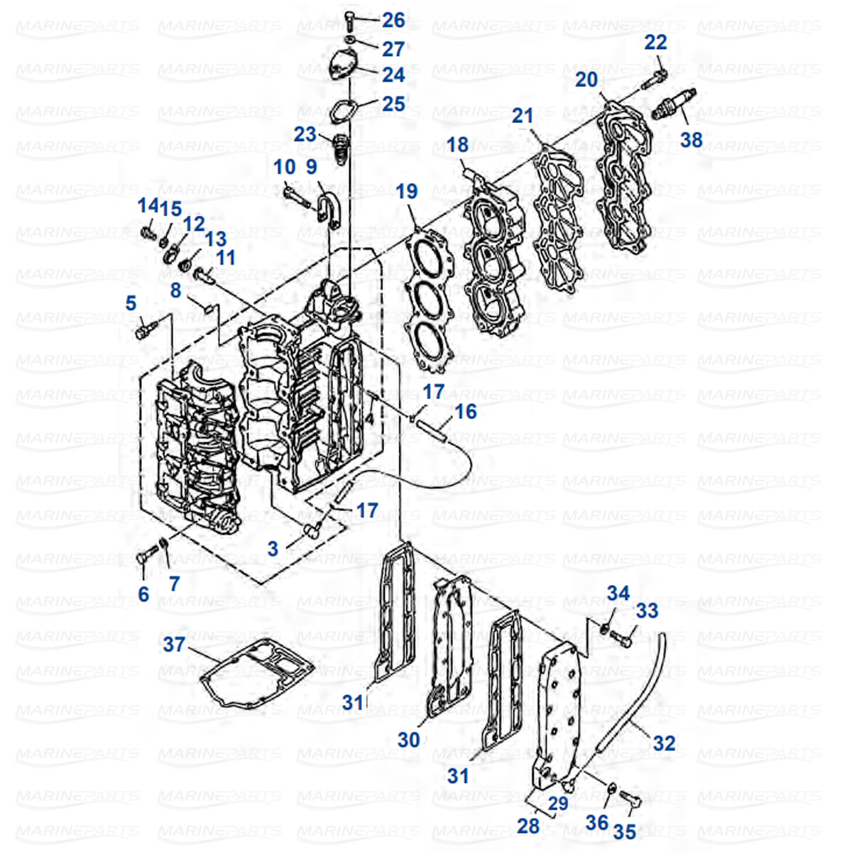 Kampikammio, sylinterikansi Yamaha 25J/JEO/ESH, 30D/DEO/DETO (1986-2013)