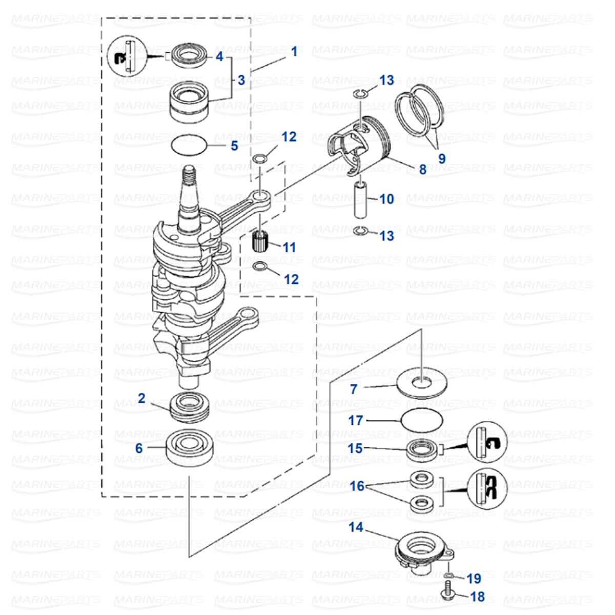 Crankshaft, Piston Yamaha 25J/JEO/ESH, 30D/DEO/DETO (1986-2013)
