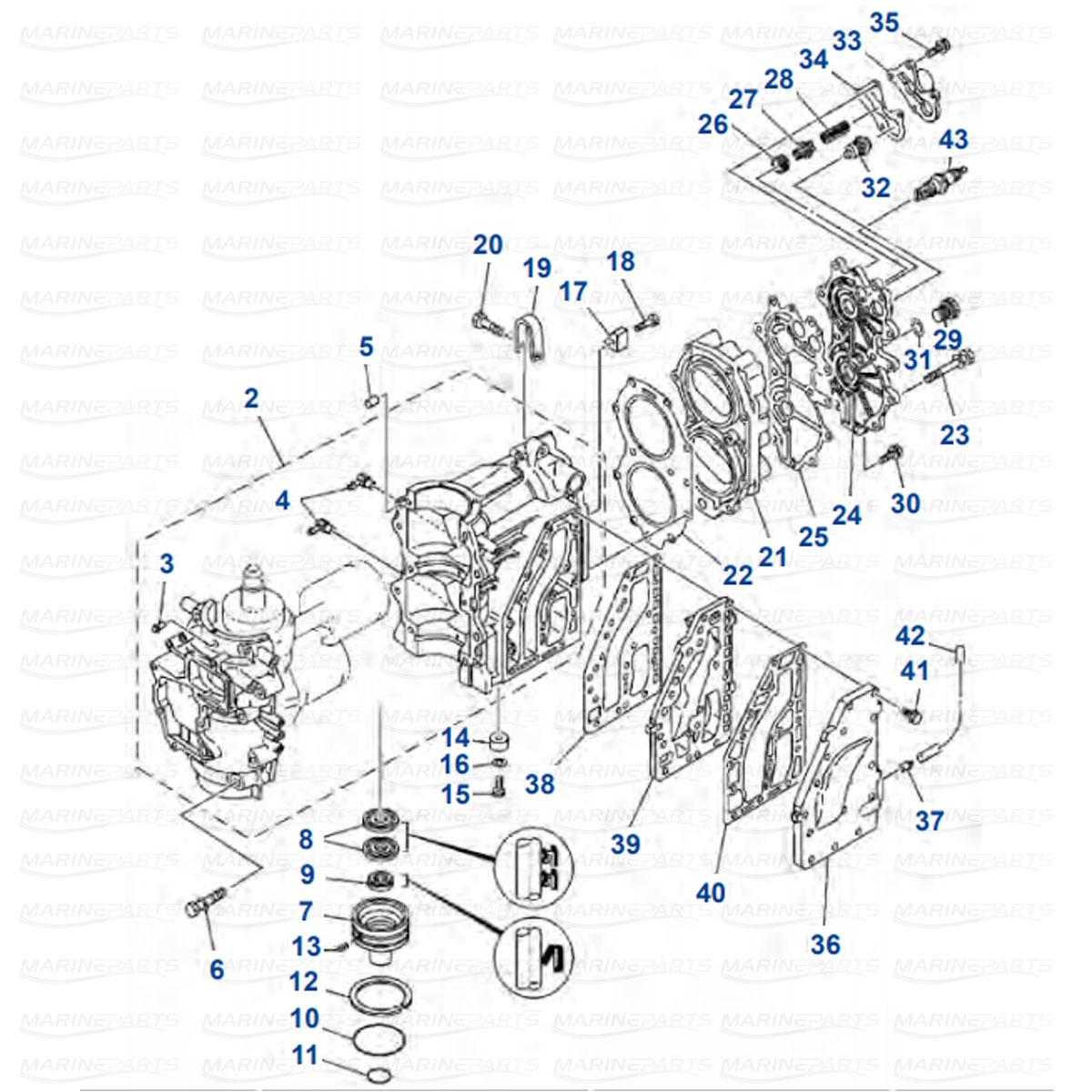 Karter, silindripea Yamaha E40G, E40J, 40G, 40J (2003-2004) 2-taktiline
