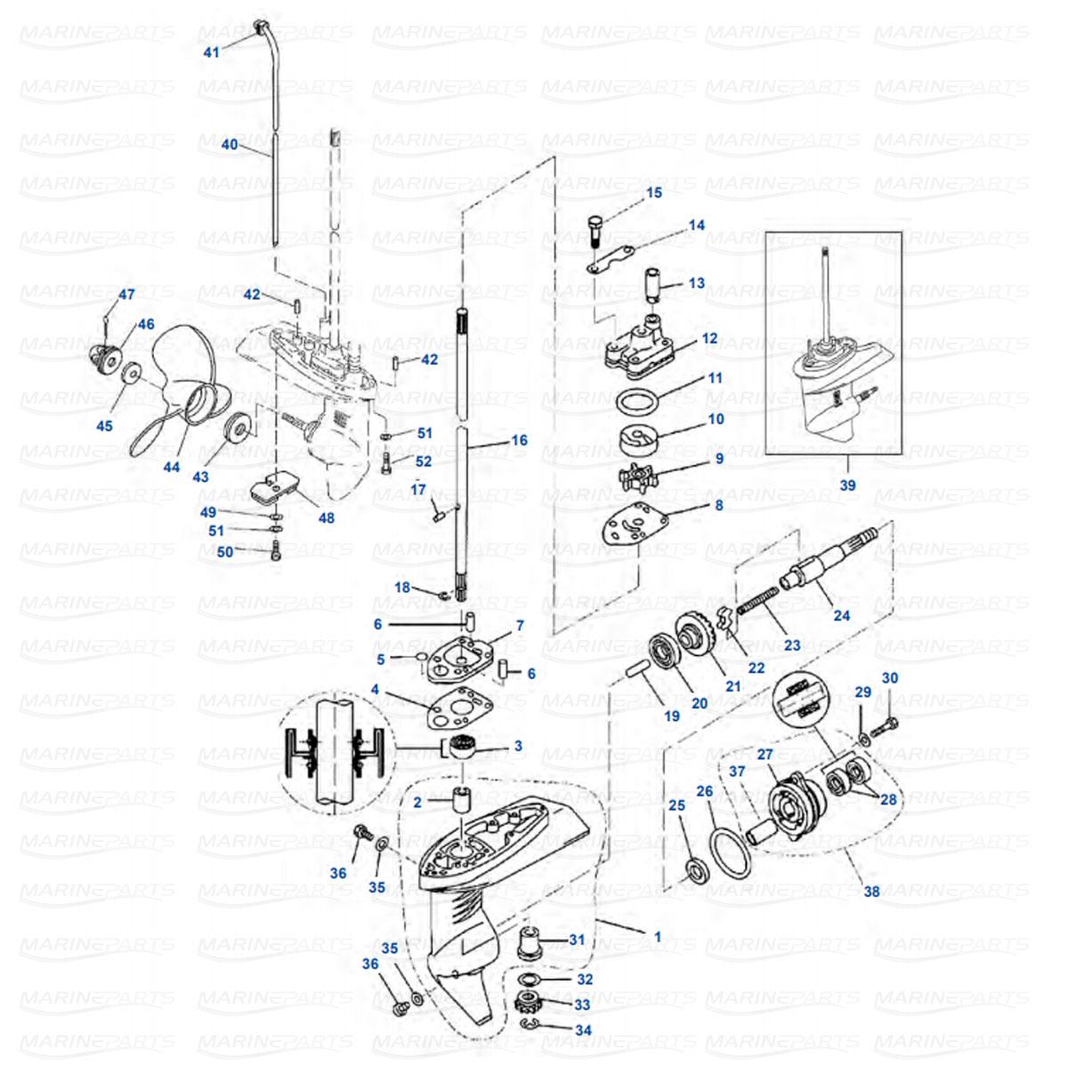 Käigukasti osad Yamaha F2.5 (2003+)