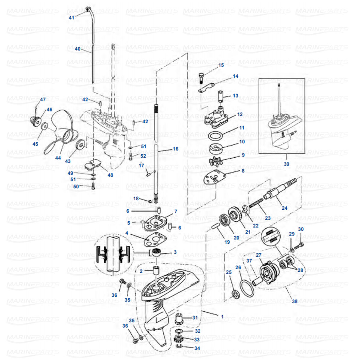 Gearcase parts Yamaha F2.5 (2003+)