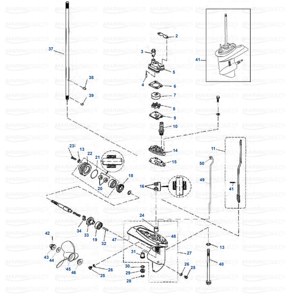 Gearcase parts Yamaha F4 (1998-2009)