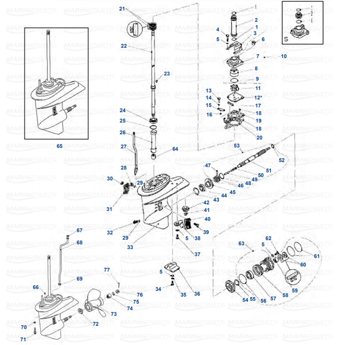 Gearcase parts Yamaha F20, F25 4-stroke
