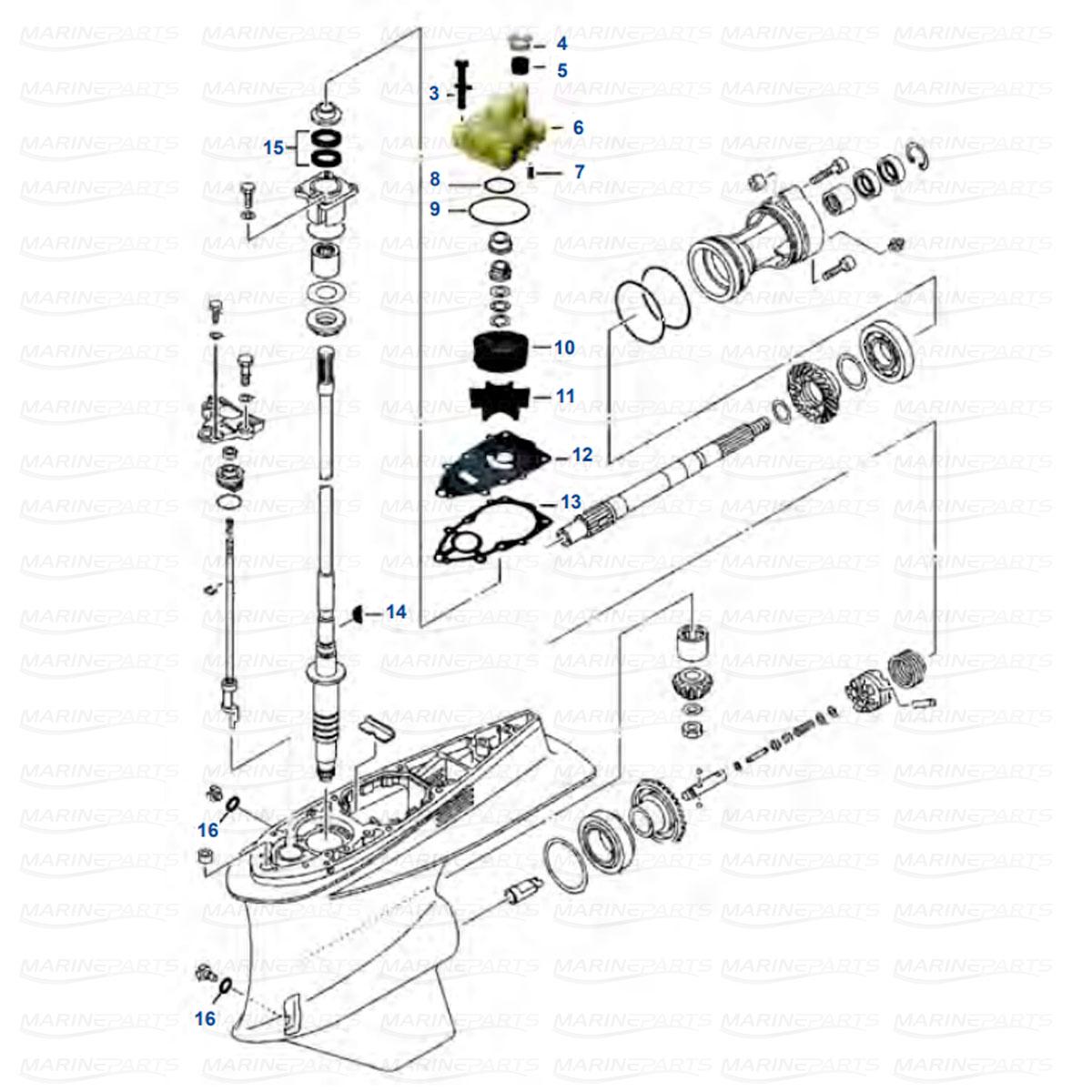 Käigukasti osad Yamaha V6 FL/F225 - FL/F250