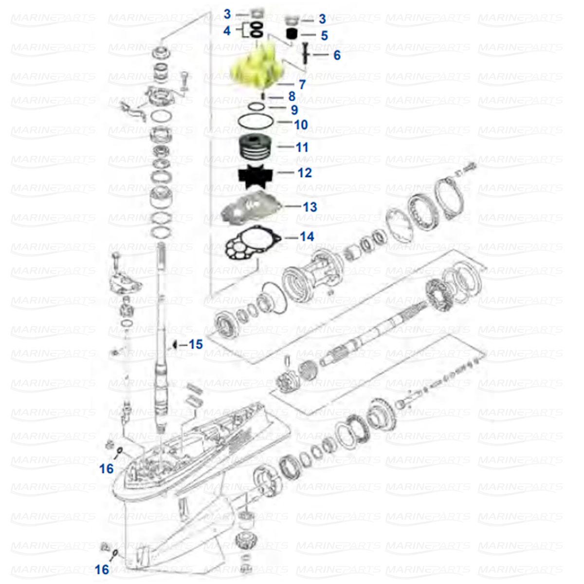 Gearcase parts Yamaha V6 F225 / F250 / F300